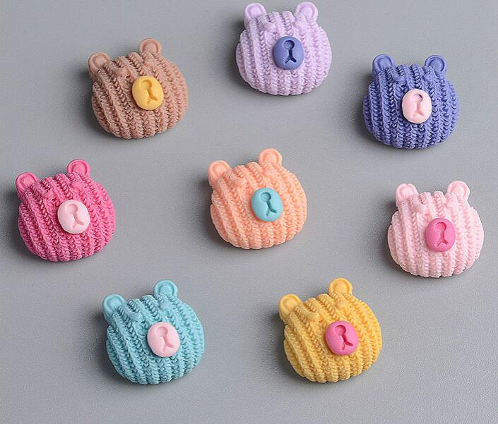 New 1.7cm*1.6cm*1.0cm Mix Color Cute Bear Shape Flat Back Resin DIY Accessories For Hair Bow Center