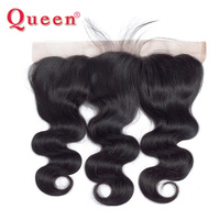Queen Hair Product Brazilian Lace Frontal Closure Body Wave Remy Hair 13x4 Ear To Ear Bleached