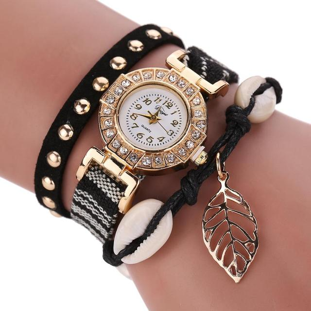 PU Leather Braided Bracelet Watches Women Fashion Diamond Clock Women Luxury Pen