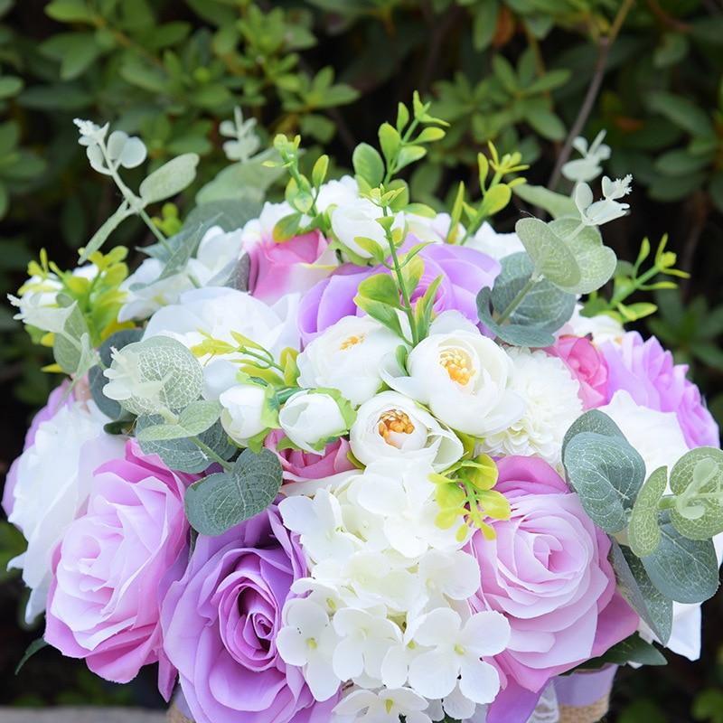 Bouquet de mariage Bouquet de mariée ruban mariée tenant fleur Rose demoiselle d'honneur mariage fleurs en mousse Rose 617 - 6