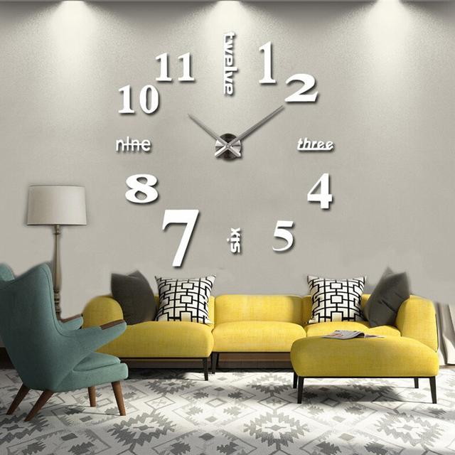 Reloj de pared 3d diy Acrylic mirror Wall Clock For  Home Decoration