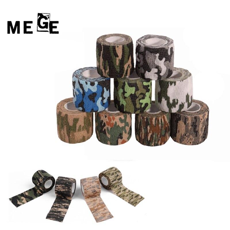 MEGE 5CM X 4.5M Camouflage Multi Elastic Wrap Tape Camo Elastoplast Adhesive Bandage Outdoor Sports Safety Camouflage Equipment