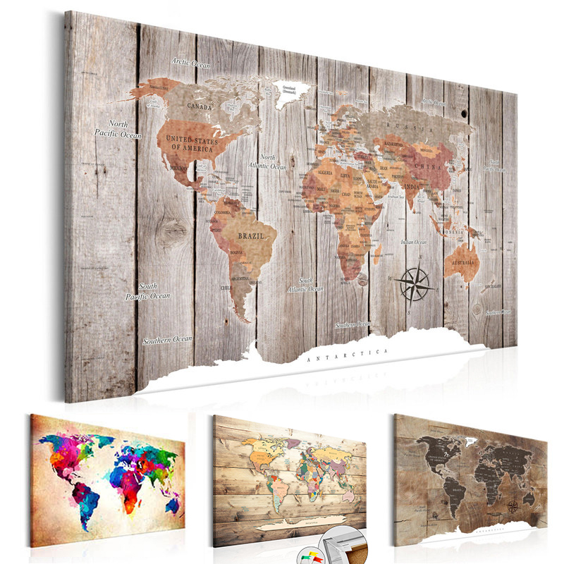 Wood World Map Wall Art Antique Canvas Painting Posters And Prints Old Pictures For Living Bedroom Cuadros Decoracion Salon