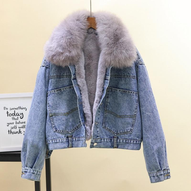 42019e9d8de0b 2018 Winter Loose Thick Short Jean Jacket Womens Real Fox Fur Collar Denim  Cotton Coat Girls Lady Wool Liner Warm Jeans Coats-in Basic Jackets from  Women s ...