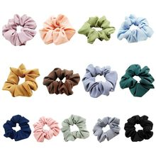 13 Colors Korean Plain Solid Color Large Intestine Scrunchies Women Sweet Girls Casual Hair Rope Elastic Ruched Ponytail Holder