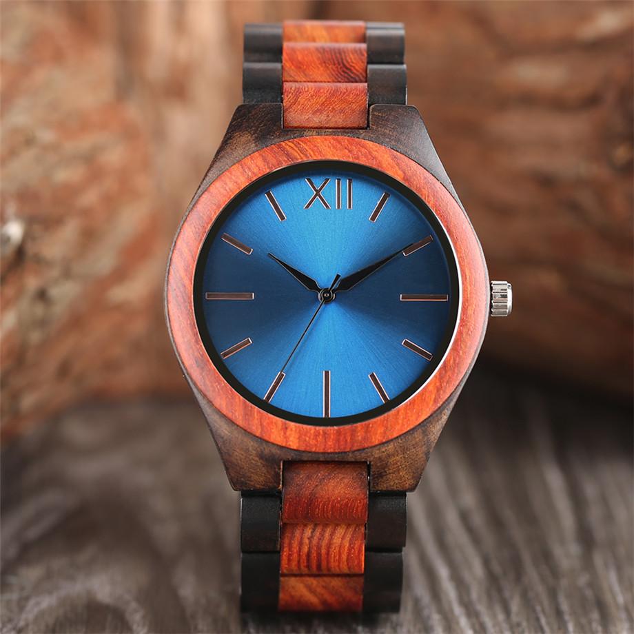 Dark Brown Sapphire Blue Nature wood watch men casual 19