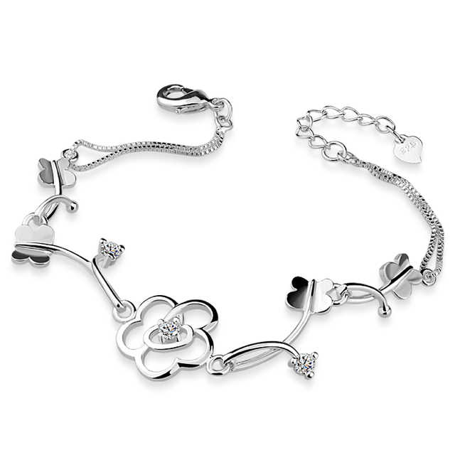 Fashion Beautiful Flower 925 Sterling Silver Bracelet Women Girl