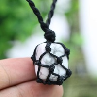 Petrified Power Natural Stone Men Necklace Drop Shape Wire Hemp Wrap Pendant Carpe Diem Macrame Boho