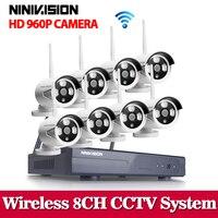 NINIVISION 8CH ИК HD охранных WI FI Беспроводной IP Камера Системы 960 P комплект видеонаблюдения 3g WI FI Открытый HD NVR комплект видеонаблюдения