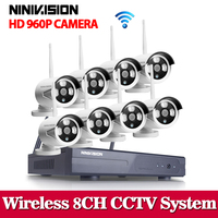 NINIVISION 8CH IR HD Home Security Wifi Draadloze IP Camera Systeem 960 P CCTV SET 3G WIFI Outdoor HD NVR Surveillance cctv Kit