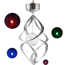 New Solar Spiral Wind Chime Waterproof Changing Romantic LED Light Balcony Courtyard Hanging For Outdoor Garden