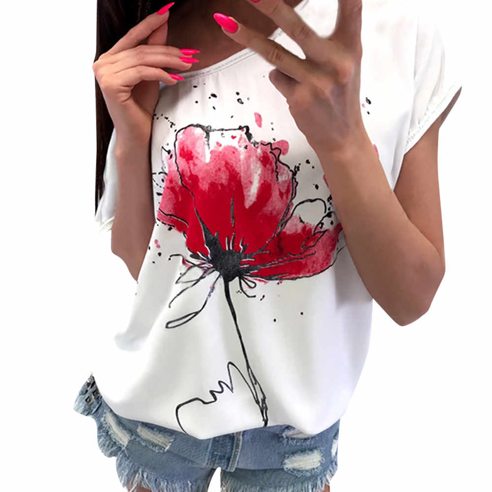 Jaycoin clothes Women Casual Tee Floral Print T shirt Short Sleeve Loose Top Short beautiful Shirt