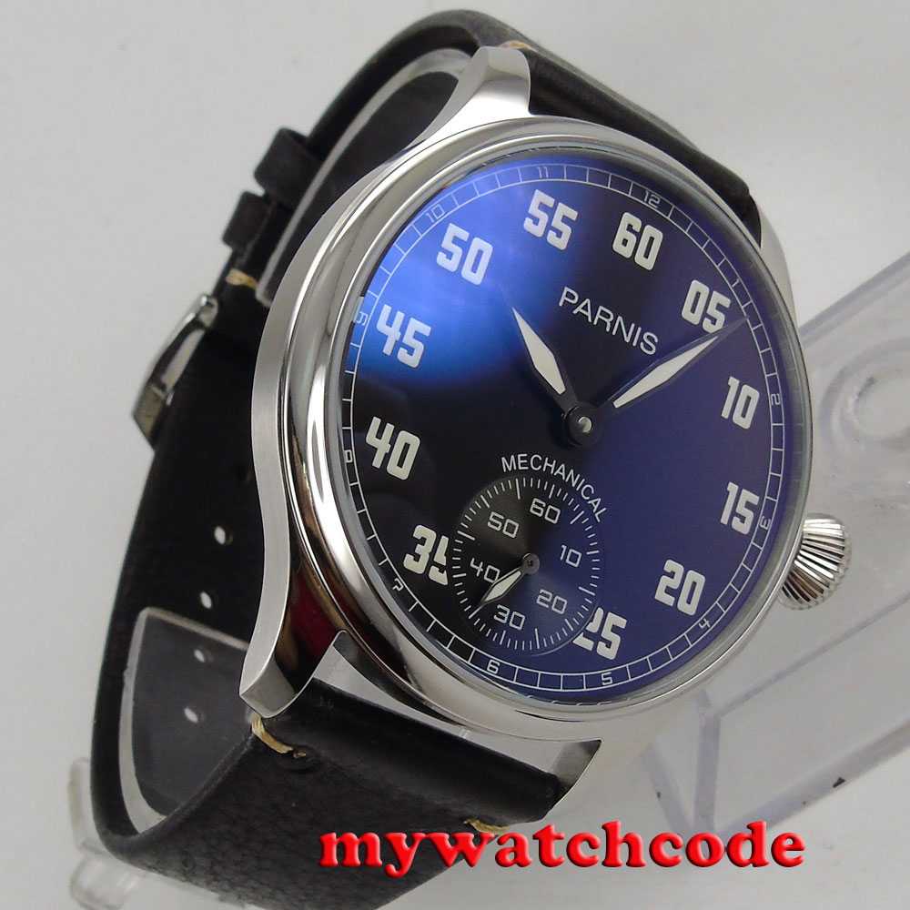 все цены на 44mm parnis black dial ST hand winding 6498 mechanical mens watch P792 онлайн