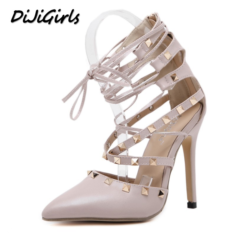 DiJiGirls New Women Pumps Fashion Sexy Rivets Wedding Party High Heels Sandals Shoes Woman Stilettos Gladiator Ankle Strap Shoe siketu 2017 free shipping spring and autumn women shoes fashion sex high heels shoes red wedding shoes pumps g107