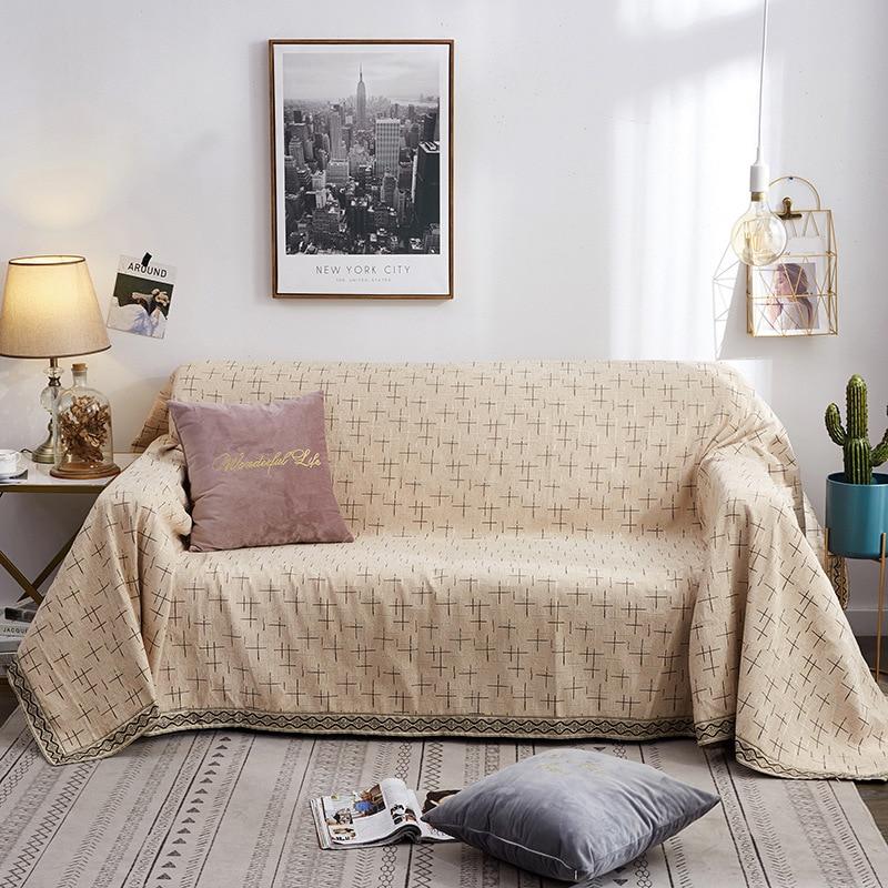 2019 nouveau canapé coussin canapé couverture anti-dérapant quatre saisons canapé serviette nordique universel solide couleur décorative couvertures