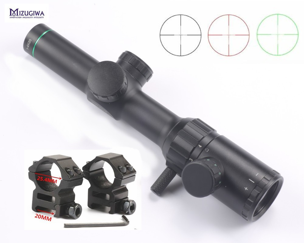Hunting Air Rifle scope Green Red Illuminated 1-4x20 Range Finder Reticle Rifle scope Sight with 25.4mm Scope Mount Rail caza 3 10x42 red laser m9b tactical rifle scope red green mil dot reticle with side mounted red laser guaranteed 100%