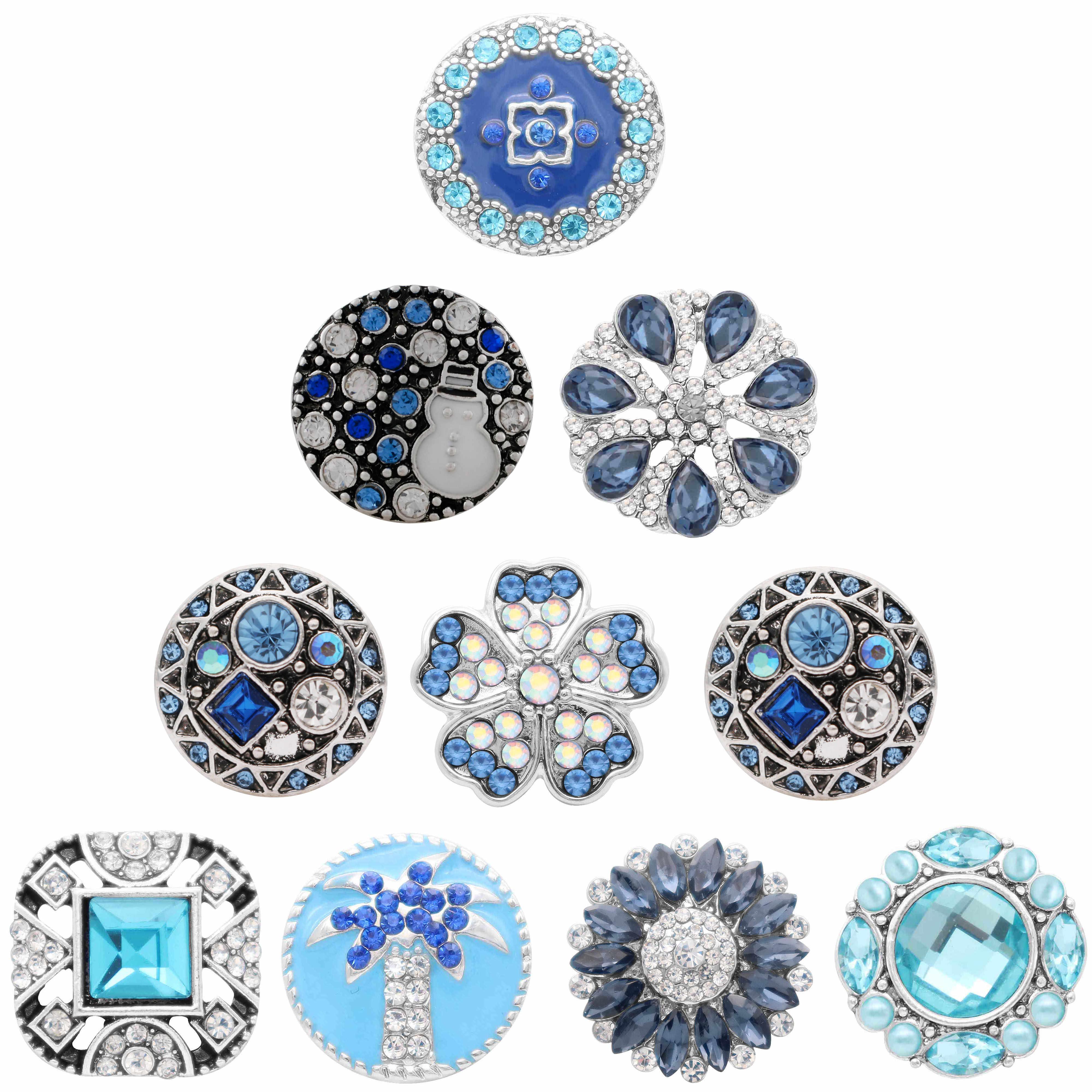 Snap Jewelry 18-20mm Blue Rhinestone Leaf Snap