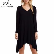 Nice-forever Casual Black color V-neck Asymmetrical Hem Dresses Women Loose Shif