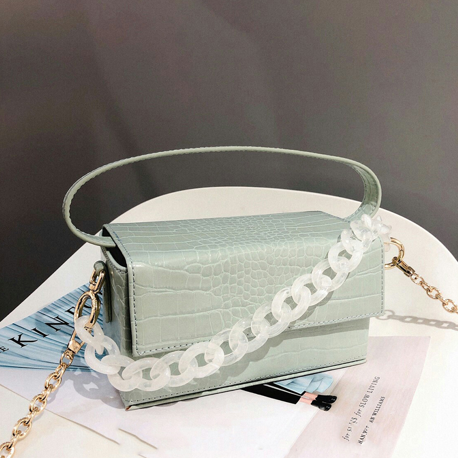 Casual Alligator Acrylic Chains Handbags Women Messenger Bag Crocodile Pattern PU Leather Shoulder Crossbody Bags Ladies PursesCasual Alligator Acrylic Chains Handbags Women Messenger Bag Crocodile Pattern PU Leather Shoulder Crossbody Bags Ladies Purses