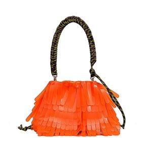 Image 5 - Летняя Пляжная прозрачная сумка на шнурке, женская модная брендовая дизайнерская сумка с кисточкой 2019