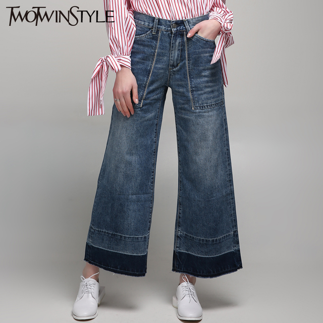 [TWOTWINSTYLE] 2016 Streetwear Large Pocket Ripped Fringed Denim Wide Leg Pant Women Jeans New Fashion