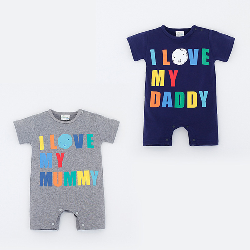 Newborn Baby Rompers Short Sleeve Baby Girls Jumpsuits Roupas Bebe Cotton Baby Boy Clothes Love Papa MaMa Print Baby Romper brand 100% cotton new 2017 ropa bebe newborn baby girls clothing clothes romper creeper jumpsuit short sleeve baby girls rompers