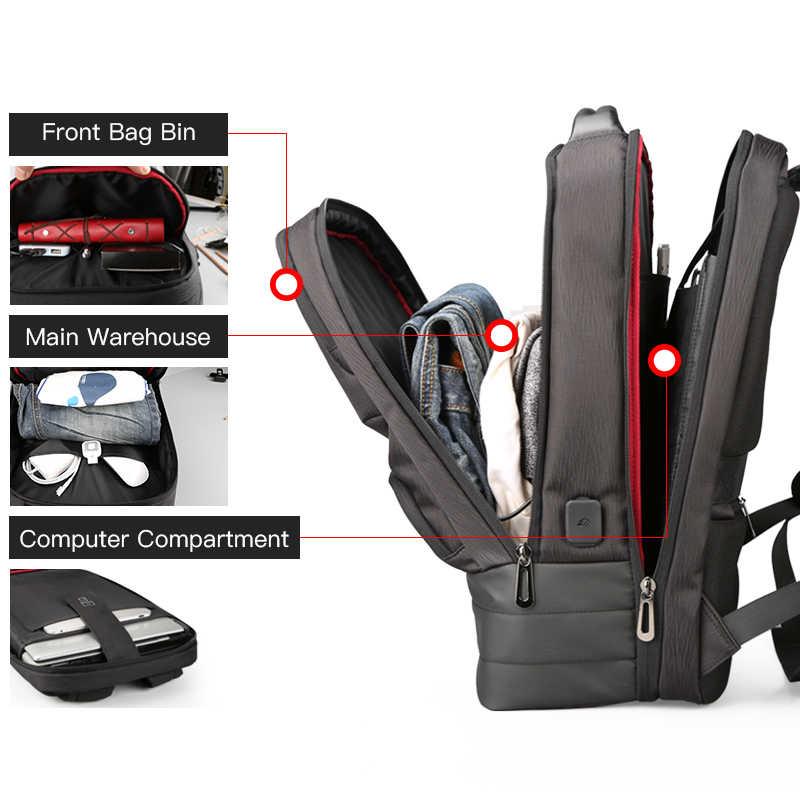 Kingsons 15.6 Inch Kapasitas Besar Tas Ransel Laptop Pria Bisnis Perjalanan Ransel Mahasiswa Tas Anti Air 2.0 USB Pengisian