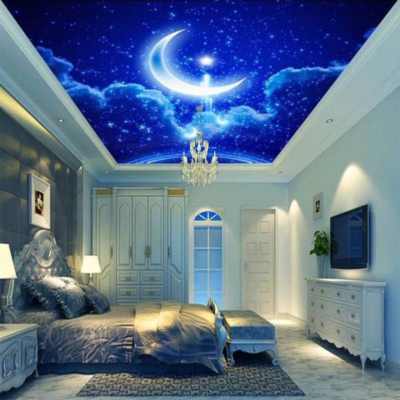 Custom Mural Wall Paper 3d Stereoscopic Blue Sky Star Moon