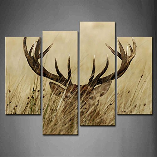 4 Panel Wall Art Deer Stag With Long Antler In The Bushes Painting Print On  Canvas