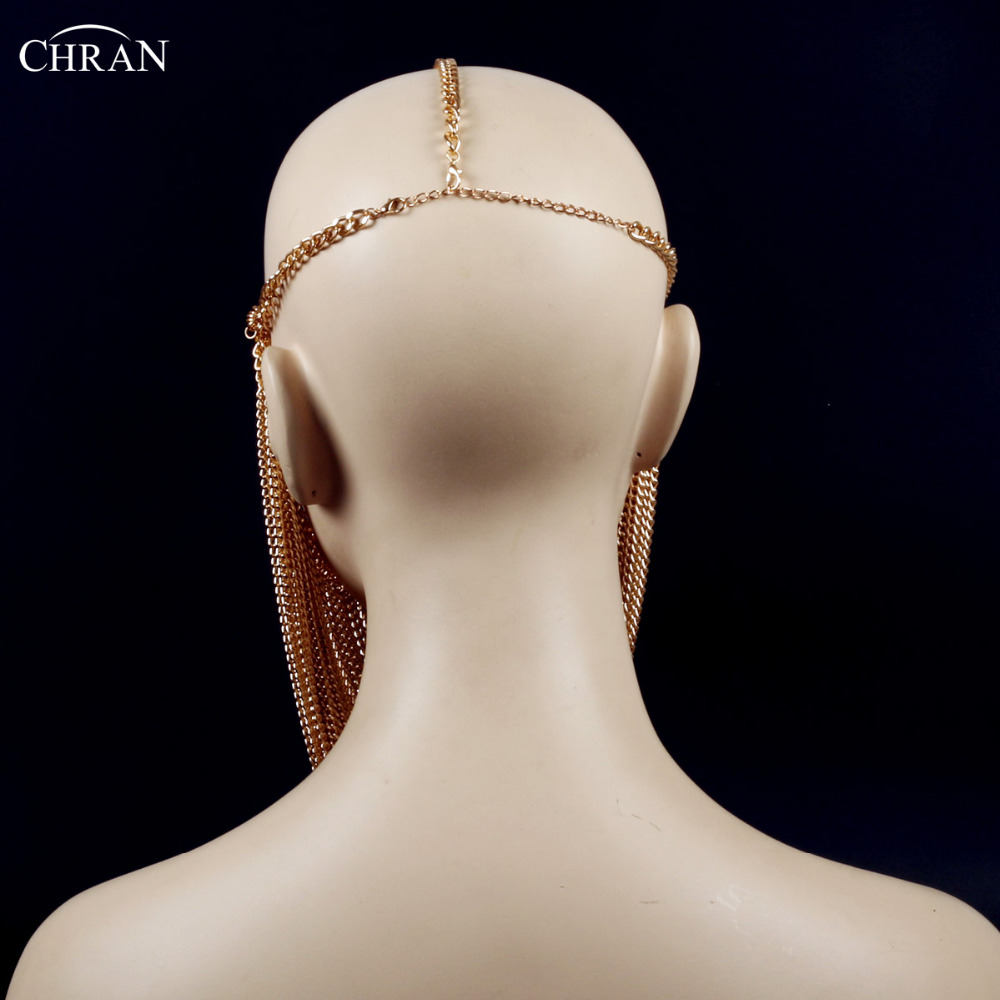 Chran Multi Layer Metal Chain Mask Luxury Brand Tassel Women Head Accessories Classic Body Jewelry Head Chain Necklace by Chran