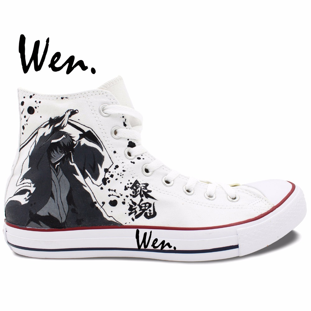 Wen White Anime Hand Painted Shoes Design Custom Gintama High Top Men Women's Canvas Sneakers Christmas Birthday Gifts wen customed hand painted shoes canvas the beatles high top women men s sneakers black daily trip shoes special christmas gifts