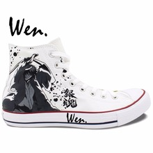 Wen White Anime Hand Painted Shoes Design Custom Gintama High Top Men Women's Canvas Sneakers Christmas Birthday Gifts