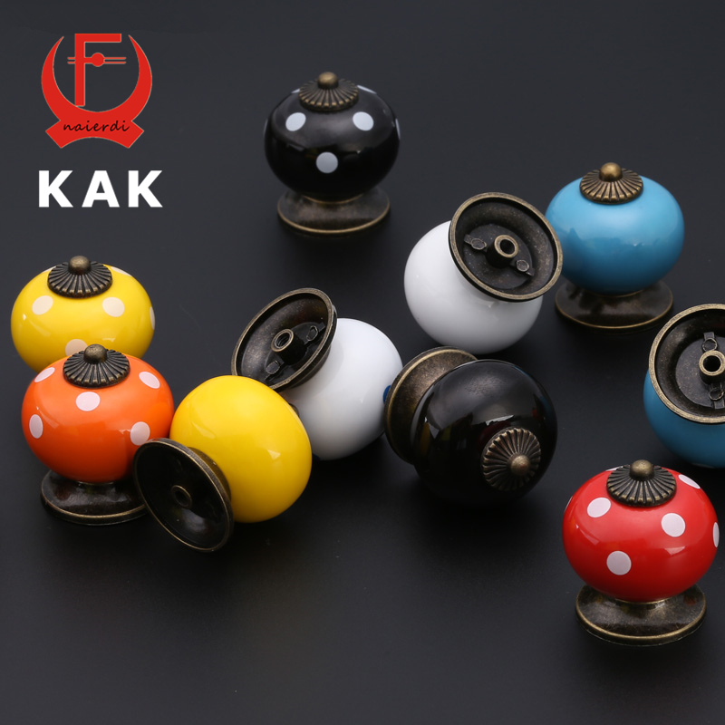 KAK Colored Ceramic Drawer Knobs Cabinet Cupboard Handles Simple Design Knobs Single Hole Handles Furniture Hardware