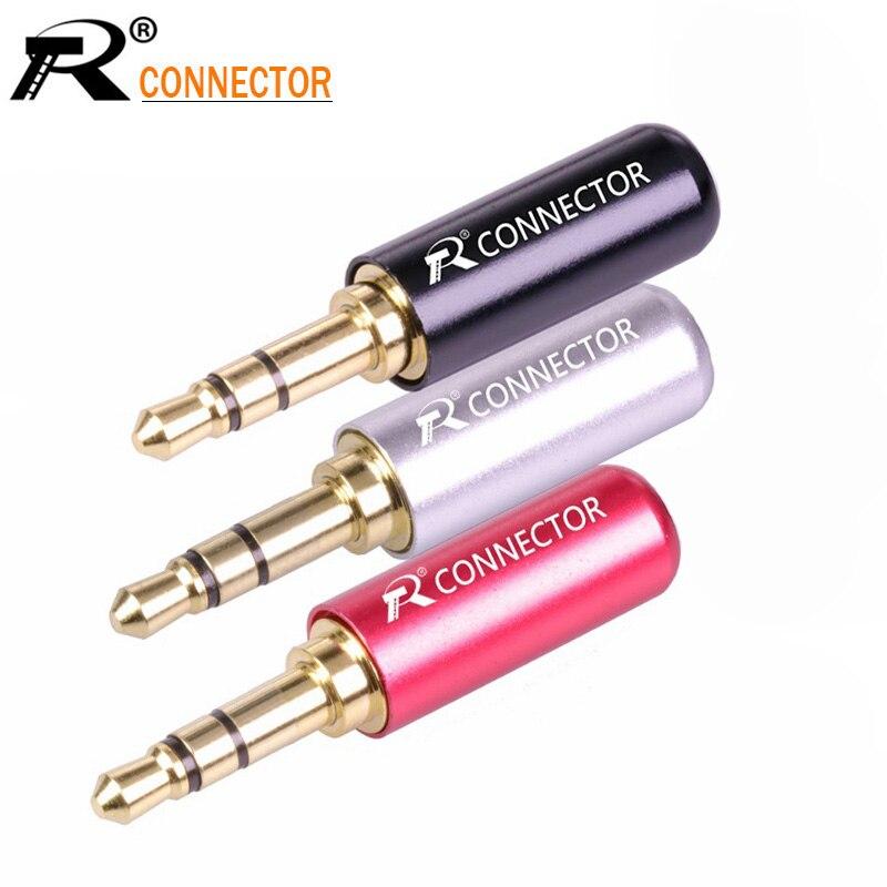10pcs Mini Jack 3.5mm 3 Pin Stereo Male Connector Gold Plated Plug Aluminum Tube 3 Pole 3.5mm Stereo Plug DIY Headphone Jack