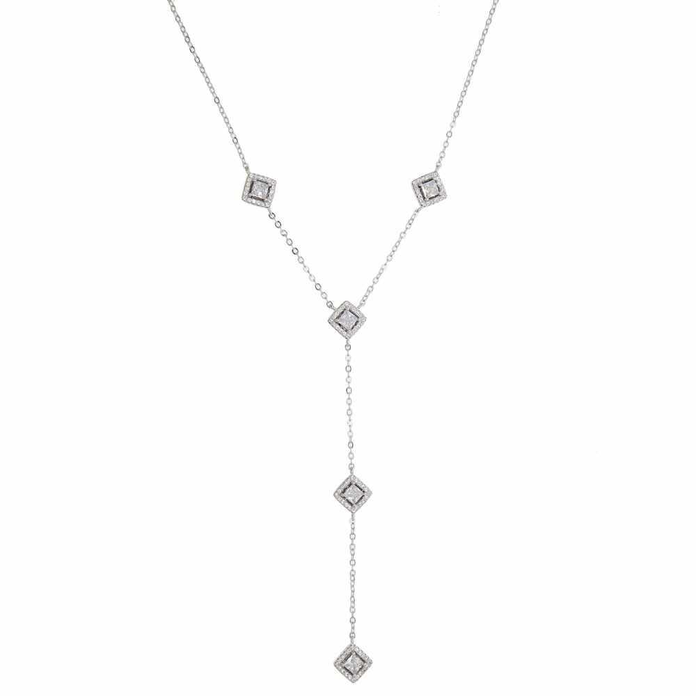 Cz długi naszyjnik dla kobiet moda symulowane aaa sześcienne cyrkonie cz biżuteria bling wspaniałe naszyjniki Bijoux Femme