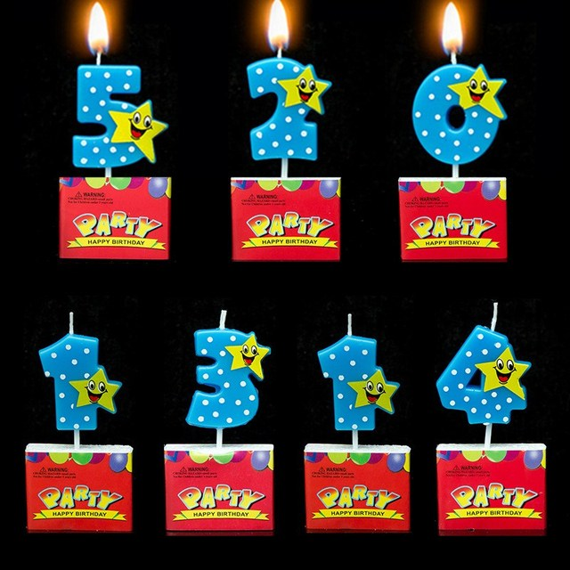 Cake Candles 0 9 Numbers Cupcake Decoration Party Birthday Candle Cartoon Lucky Star Blue