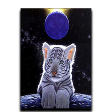 Diamond  Painting Animals Decoration Rhinestone Mosaic Image Craft Patchwork Embroidery Hobby Full Diamonds Tiger and moon