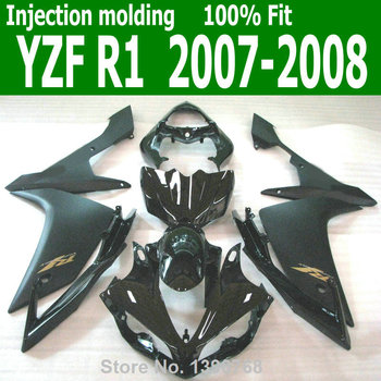 Free custom Fairings For YAMAHA YZF R1 07 * 08 ( Black ) Injection mold Fairing kit CQ108