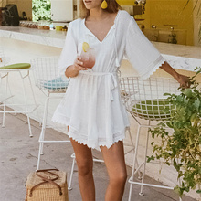 Beach dress Saida de Praia Cotton Beach Cover up Kaftan Beach Pareos de Playa Mujer Lace Bikini Cover up Swimsuit cover up #Q711