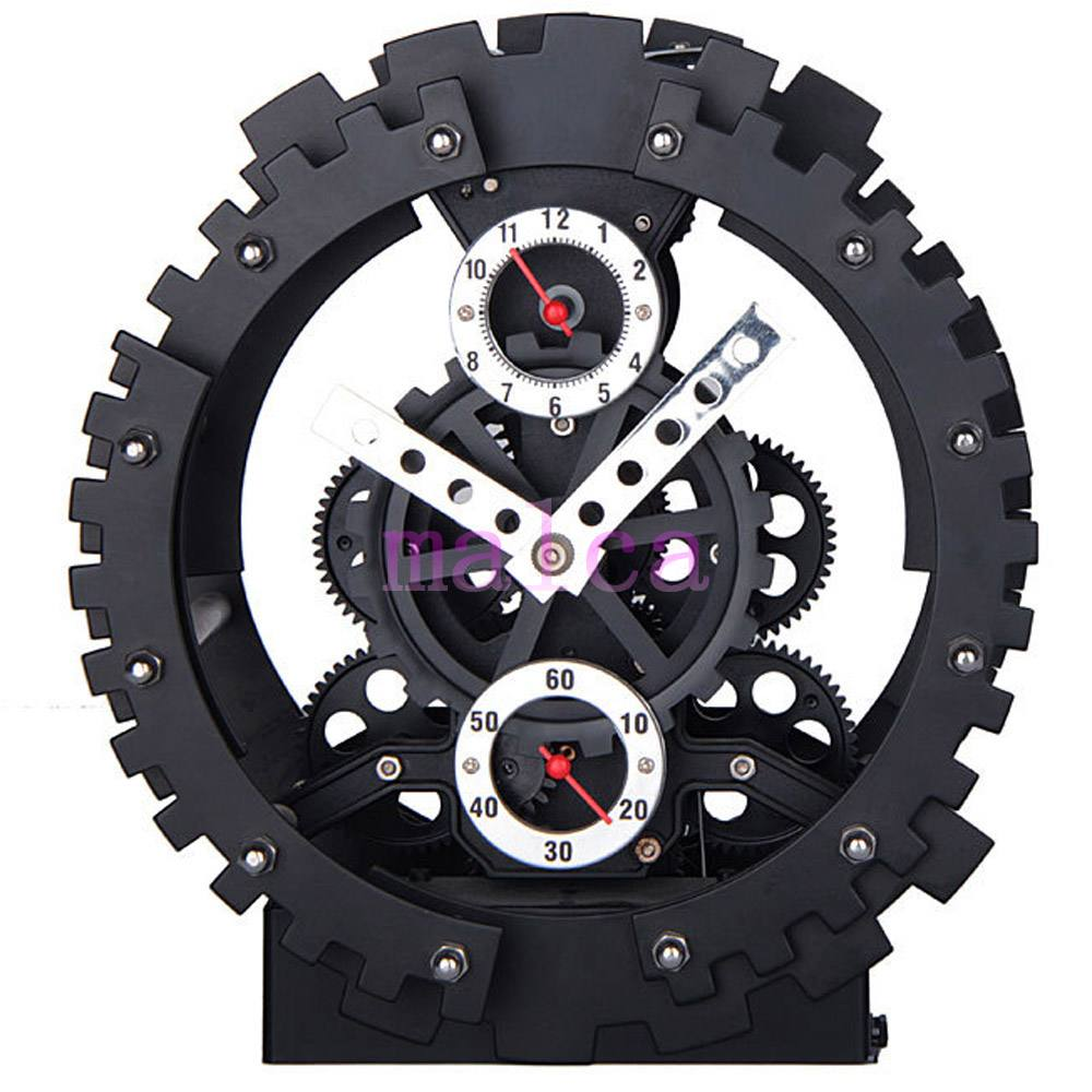 Metal Gear Clock Modern Design Alarm Clocks Kids Decorative Bedroom Table Clock Black Bell Desk Clocks Home Decor 8 inch