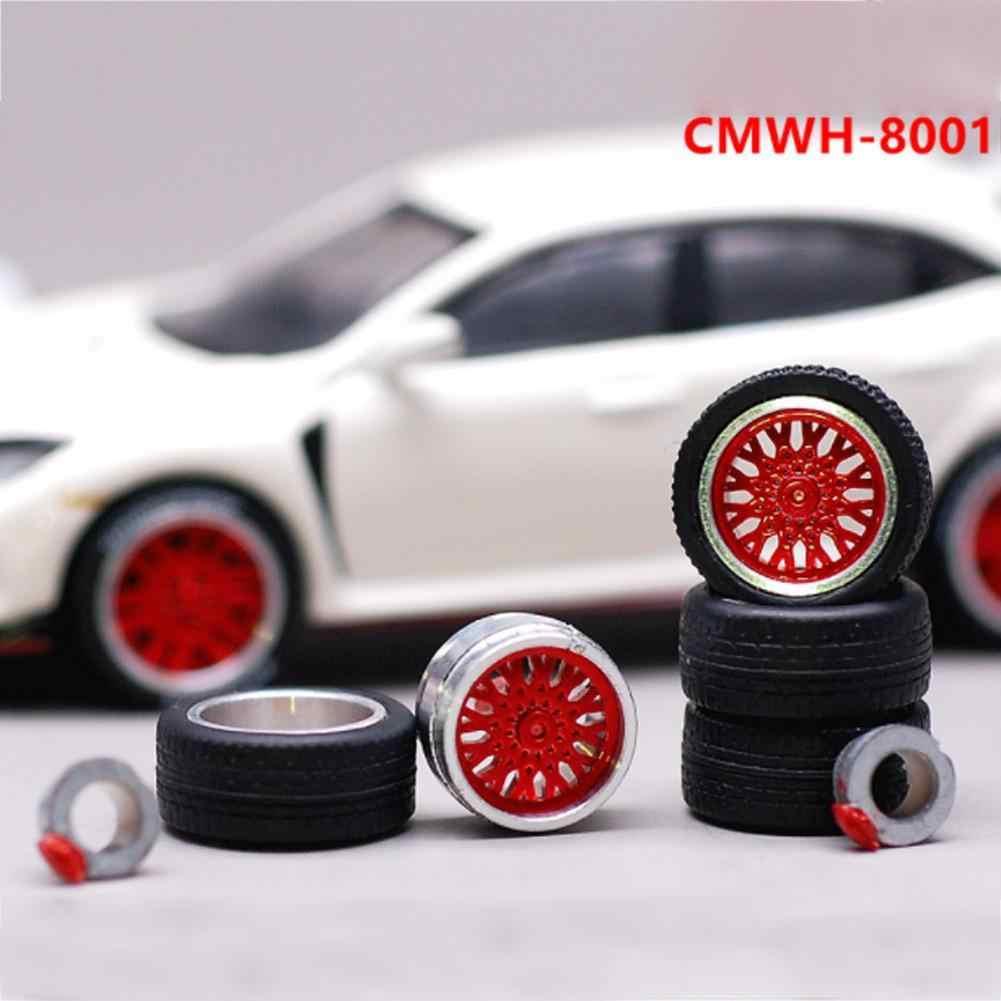 1: 64 Mobil Roda Ban Dimodifikasi Kendaraan Karet Paduan Mobil Mereparasi Roda untuk 1/64 Mobil Cocok untuk Beberapa Mobil 4 Roda satu Set