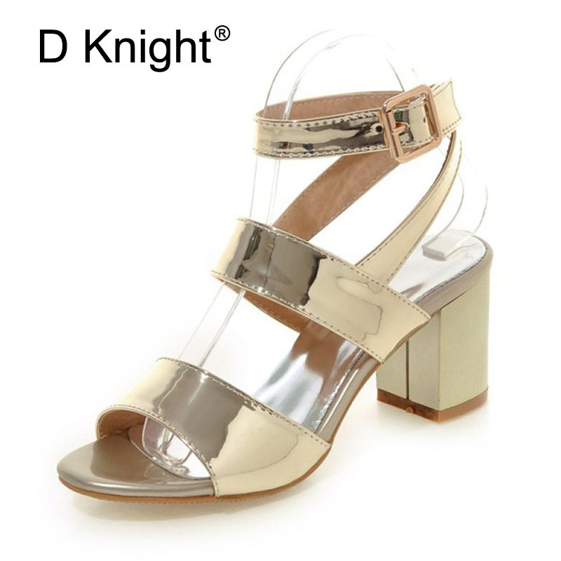 Gold Silver Pink Gladiator Sandals Summer High Heels Platform Shoes Woman Buckle Strap Pumps Casual Women Shoes Plus Size 33-43 xiaying smile summer new woman sandals platform women pumps buckle strap high square heel fashion casual flock lady women shoes