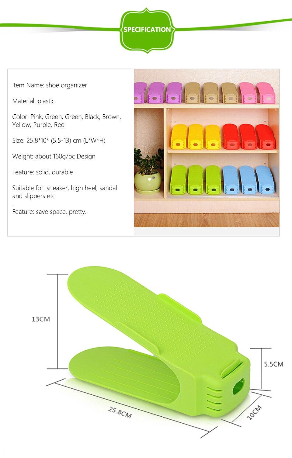 1pc Shoes Organizers Display Rack Shoes Organizer Plastic Space Saving Shoe Storage Shoe Racks Double Cleaning Storage_04