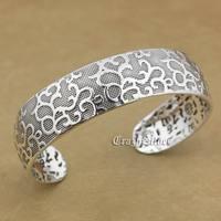 999 стерлингового серебра очарование цветок Благословение браслет 9A016
