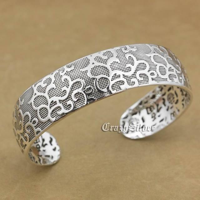 999 Sterling Silver Charm Flower Blessing Bracelet Bangle 9A016