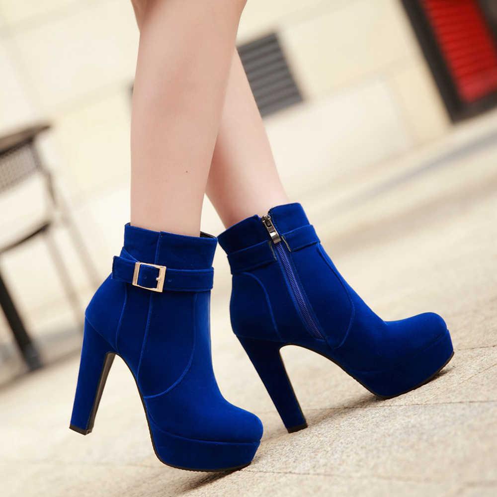 Meotina/женские ботинки; Зимние ботильоны на очень высоком каблуке с пряжкой; короткие ботинки на молнии и платформе на толстом каблуке; женская красная обувь; Размеры 33-43