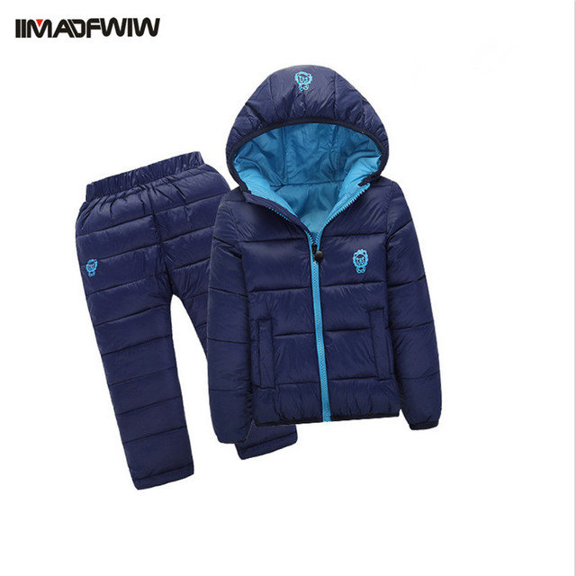 2PCS/set 2016 Winter Kids Baby Girls Boys Clothing Set Children Padded Suits Cotton-padded Jacket+Pants Hooded Warm Suits