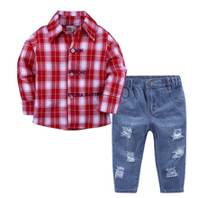 2Pcs Cotton Boys Kids Clothes 2018 Children Long Sleeve Plaid Letter Print Shirt Jeans Suits For Baby Boys Clothing Sets children clothing sets baby kids boy hoodie pure cotton long sleeve streetwear style clothing printing suits boys sweater black
