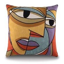 2015 Picasso bordado cojines Decorativos caso Funda de Cojín de Algodón Creativo decoración para el hogar Sofá cubre 45X45 cm
