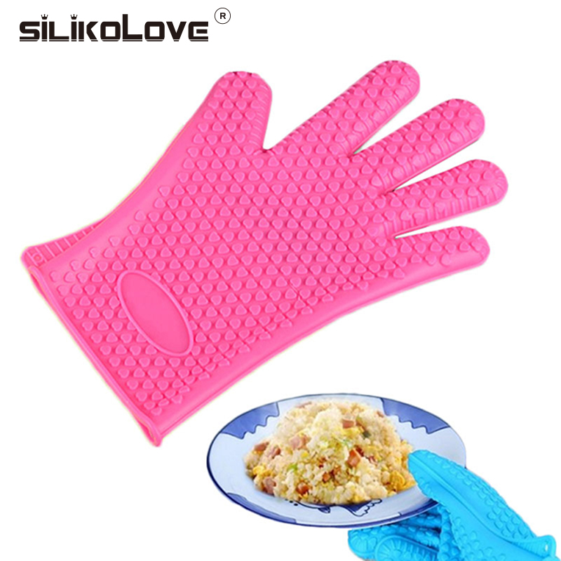 SILIKOLOVE Silicone Anti Slip Gloves High Temperature Resistant Thermal Insulation Barbecue For Microwave Safe Baking Tools